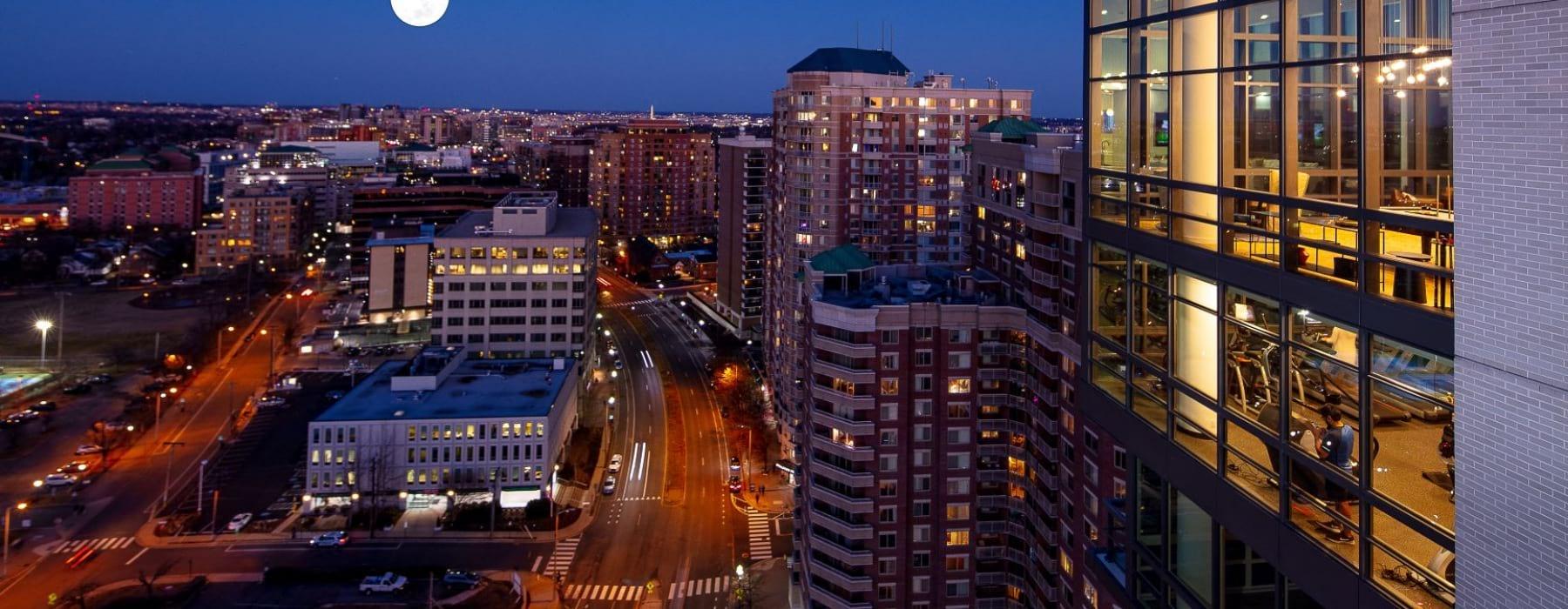 view from rooftop at night - j sol apartments ballston arlington virginia