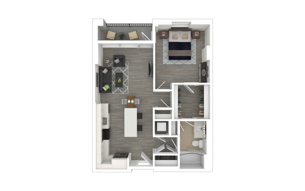 A1.1 - 1 bedroom floorplan layout with 1 bath and 696 square feet. (3D Furnished)