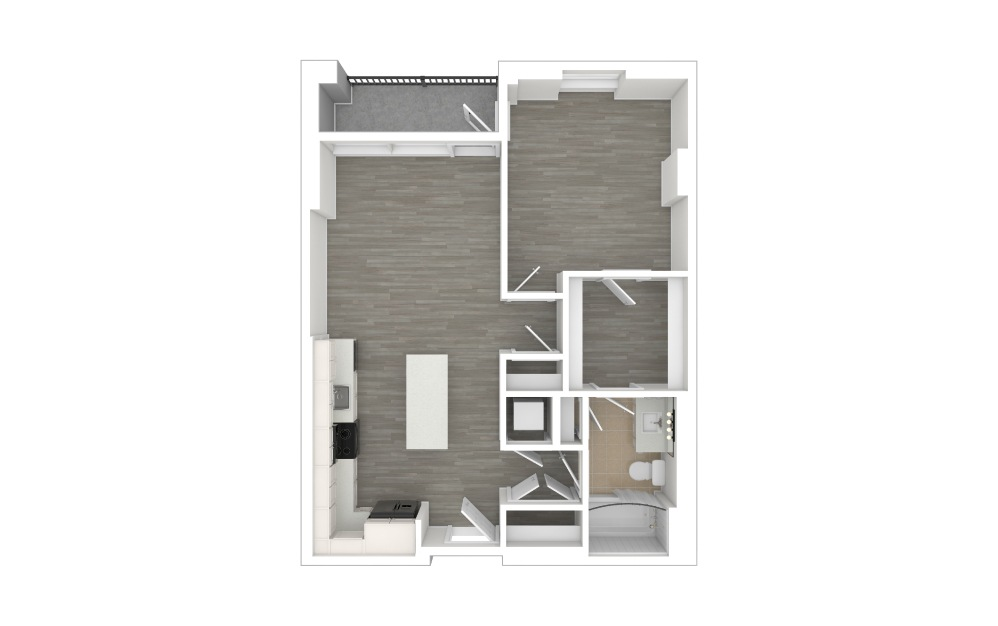 A1.1 - 1 bedroom floorplan layout with 1 bath and 696 square feet. (3D)