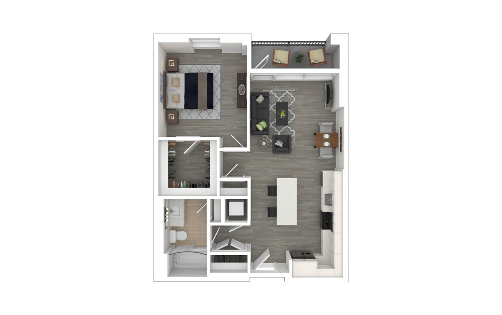 A1 - 1 bedroom floorplan layout with 1 bath and 693 square feet. (3D Furnished)