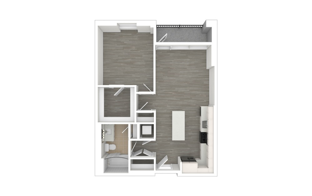 A1 - 1 bedroom floorplan layout with 1 bath and 693 square feet. (3D)