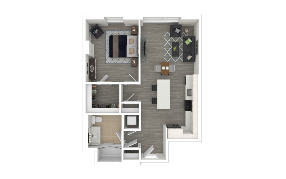 A2.ANSI - 1 bedroom floorplan layout with 1 bath and 708 square feet. (3D Furnished)