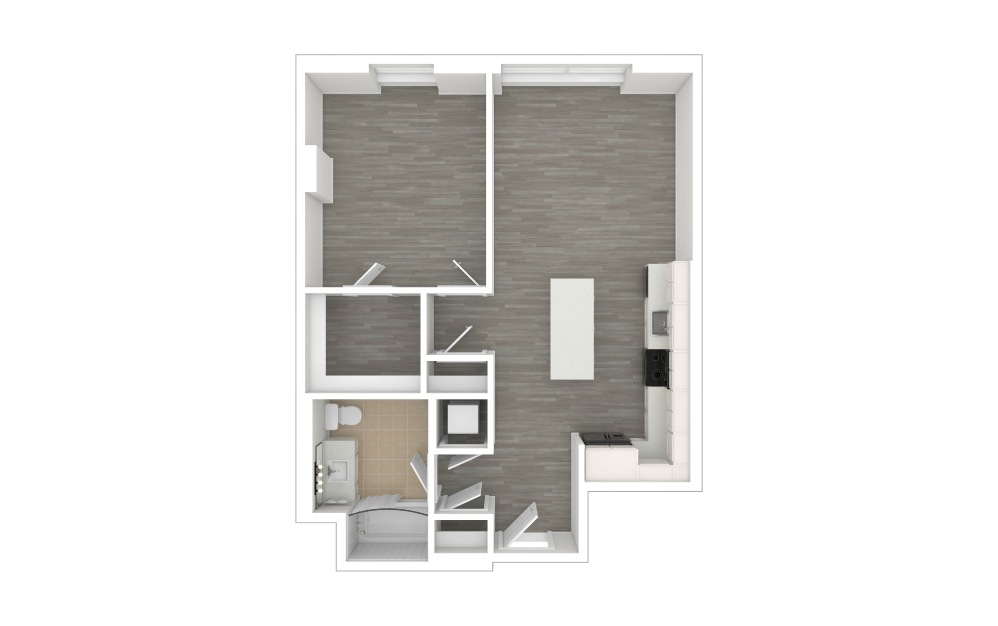 A2.ANSI - 1 bedroom floorplan layout with 1 bath and 708 square feet. (3D)