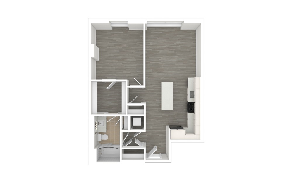 A2 - 1 bedroom floorplan layout with 1 bath and 708 square feet. (3D)