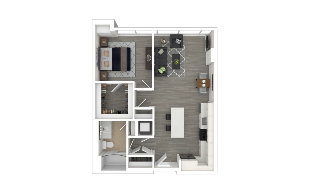 A3  - 1 bedroom floorplan layout with 1 bath and 710 square feet. (3D Furnished)