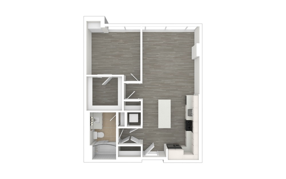 A3  - 1 bedroom floorplan layout with 1 bath and 710 square feet. (3D)