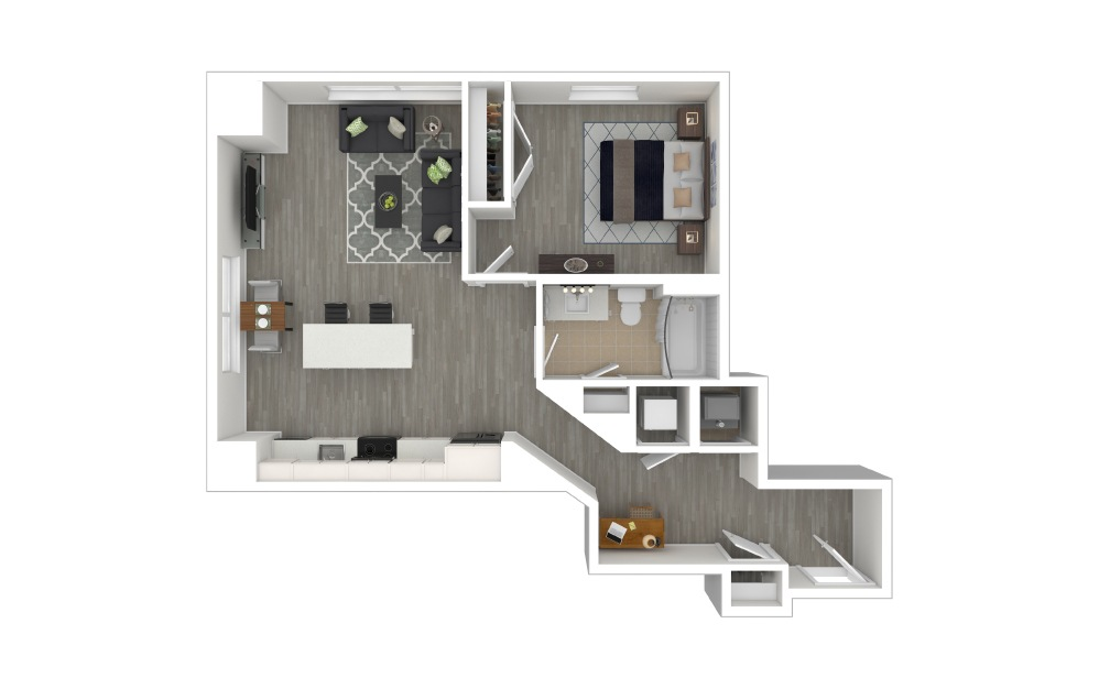 A4 - 1 bedroom floorplan layout with 1 bath and 741 to 744 square feet. (3D Furnished)