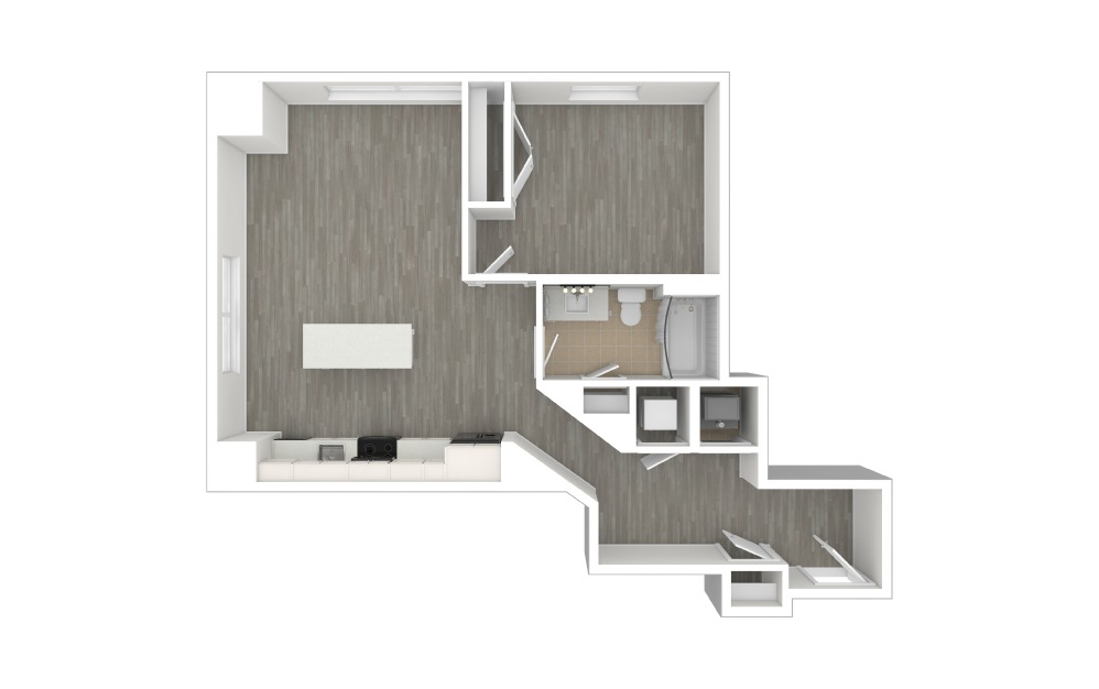 A4 - 1 bedroom floorplan layout with 1 bath and 741 to 744 square feet. (3D)