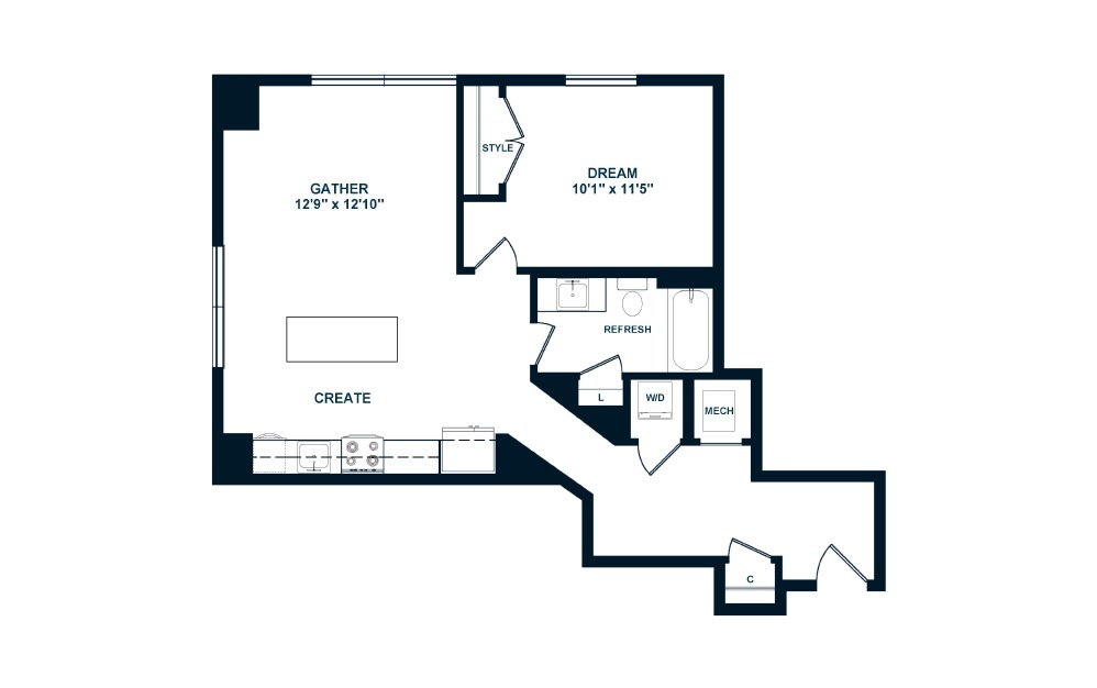 A4 - 1 bedroom floorplan layout with 1 bath and 741 to 744 square feet. (2D)