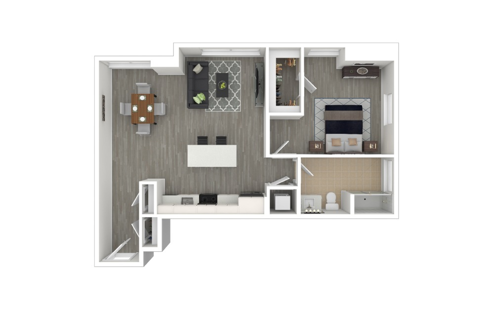 A5 - 1 bedroom floorplan layout with 1 bath and 822 to 830 square feet. (3D Furnished)