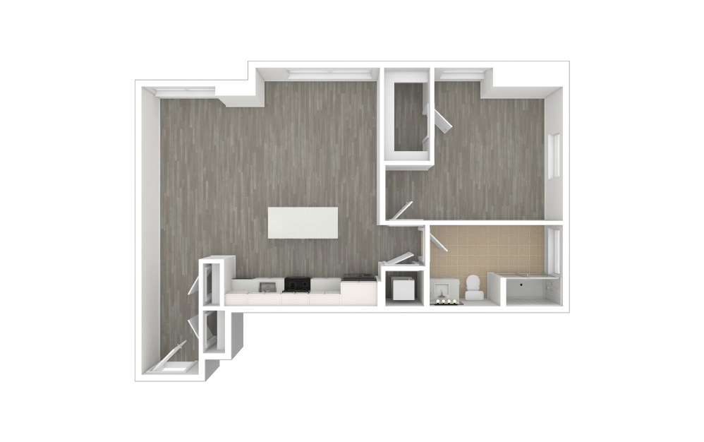 A5 - 1 bedroom floorplan layout with 1 bath and 822 to 830 square feet. (3D)
