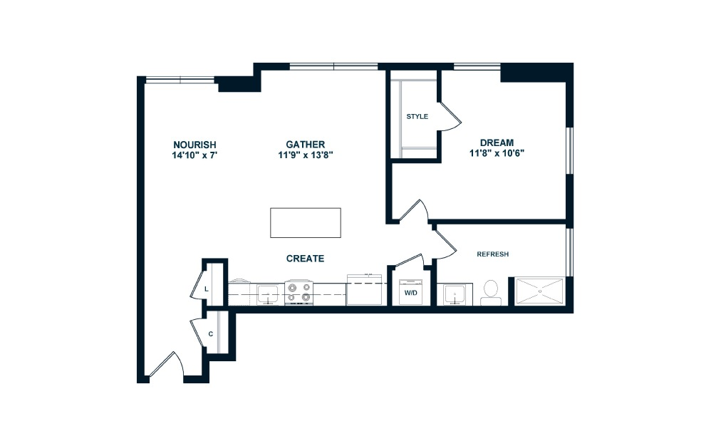 A5 - 1 bedroom floorplan layout with 1 bath and 822 to 830 square feet. (2D)
