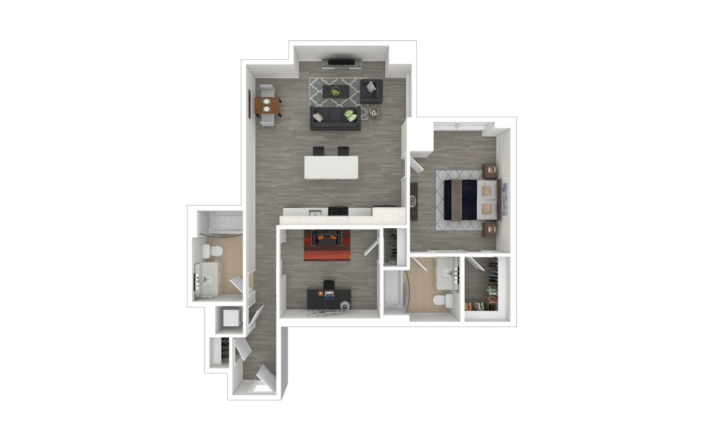C1 with Den - 1 + Den floorplan layout with 2 baths and 938 to 939 square feet. (3D Furnished)