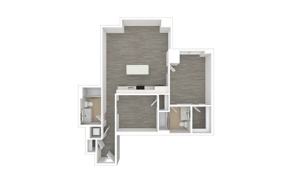 C1 with Den - 1 + Den floorplan layout with 2 baths and 938 to 939 square feet. (3D)