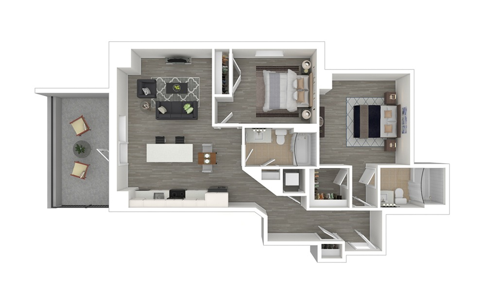 C3 with Den - 2 bedroom floorplan layout with 2 baths and 1011 square feet. (3D Furnished)