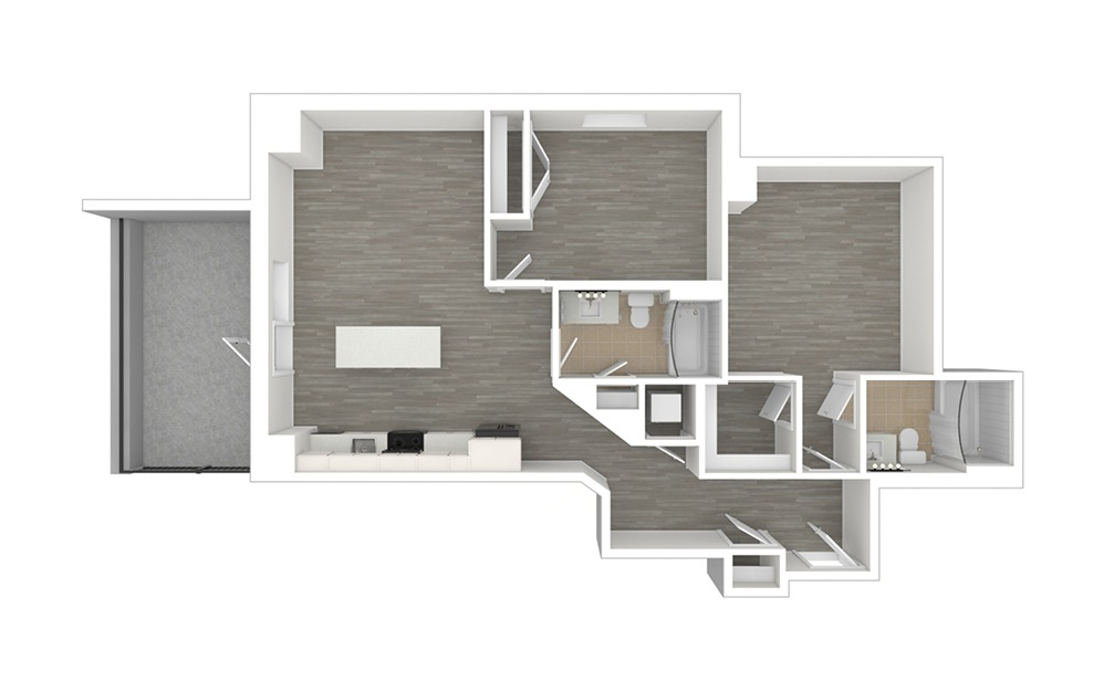 C3 with Den - 2 bedroom floorplan layout with 2 baths and 1011 square feet. (3D)