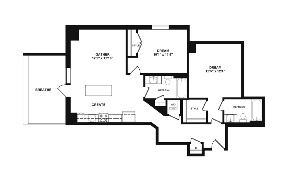 C3 with Den - 2 bedroom floorplan layout with 2 baths and 1011 square feet. (2D)