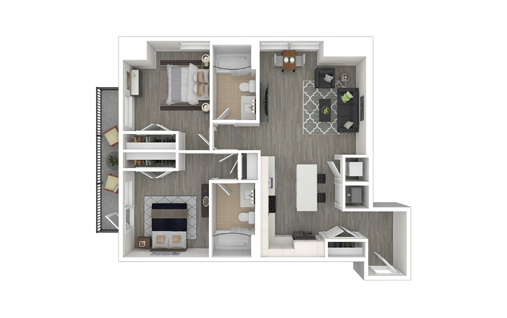 D1 - 2 bedroom floorplan layout with 2 baths and 947 square feet. (3D Furnished)