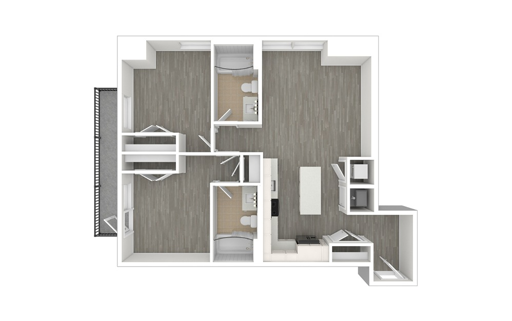 D1 - 2 bedroom floorplan layout with 2 baths and 947 square feet. (3D)