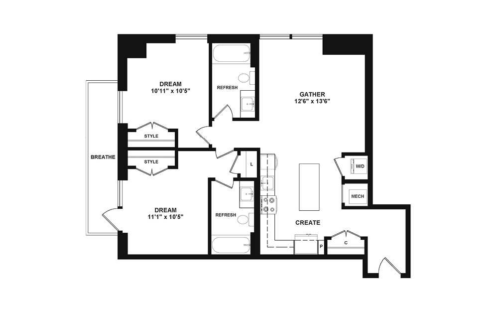 D1 - 2 bedroom floorplan layout with 2 baths and 947 square feet. (2D)