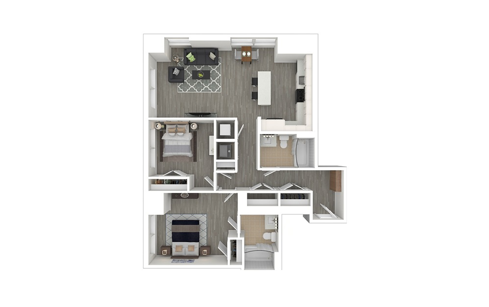 D2 - 2 bedroom floorplan layout with 2 baths and 1052 square feet. (3D Furnished)