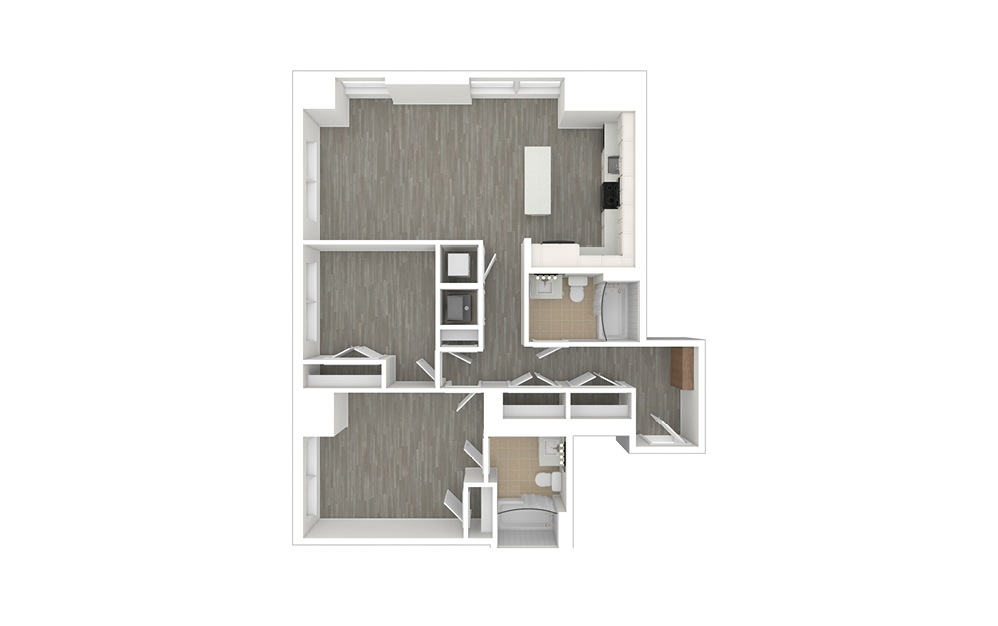 D2 - 2 bedroom floorplan layout with 2 baths and 1052 square feet. (3D)