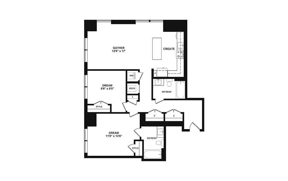D2 - 2 bedroom floorplan layout with 2 baths and 1052 square feet. (2D)