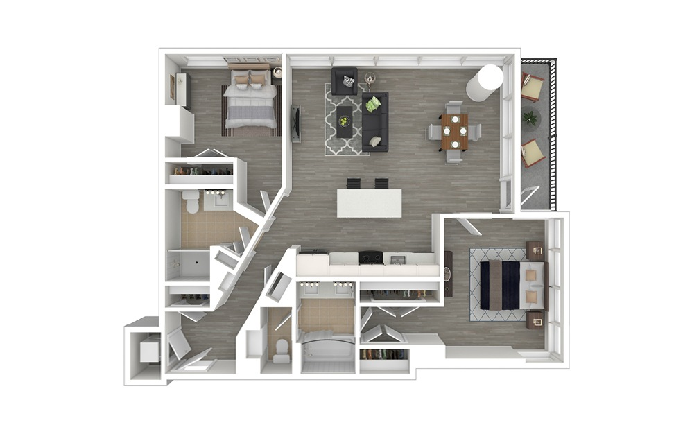 D3.1 - 2 bedroom floorplan layout with 2 baths and 1110 square feet. (3D Furnished)