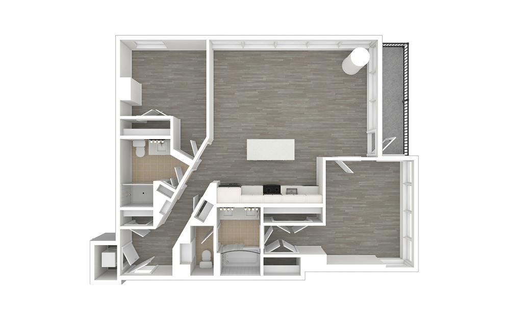 D3.1 - 2 bedroom floorplan layout with 2 baths and 1110 square feet. (3D)