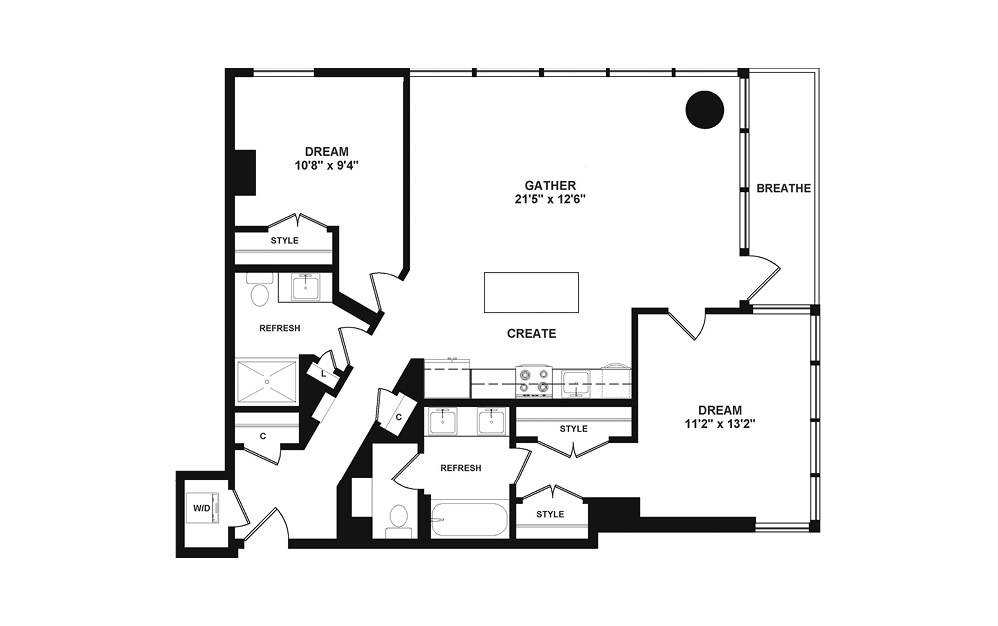 D3.1 - 2 bedroom floorplan layout with 2 baths and 1110 square feet. (2D)