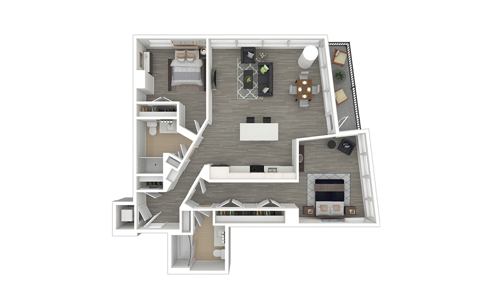 D3 - 2 bedroom floorplan layout with 2 baths and 1024 to 1149 square feet. (3D Furnished)