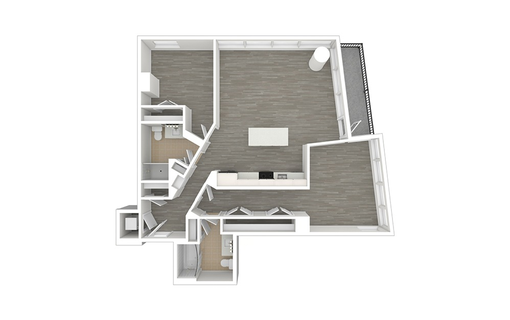 D3 - 2 bedroom floorplan layout with 2 baths and 1024 to 1149 square feet. (3D)