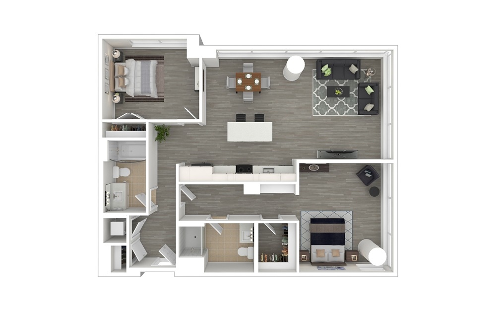 D4.1 - 2 bedroom floorplan layout with 2 baths and 1205 square feet. (3D Furnished)