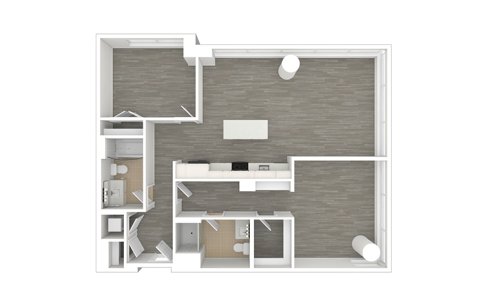 D4.1 - 2 bedroom floorplan layout with 2 baths and 1205 square feet. (3D)