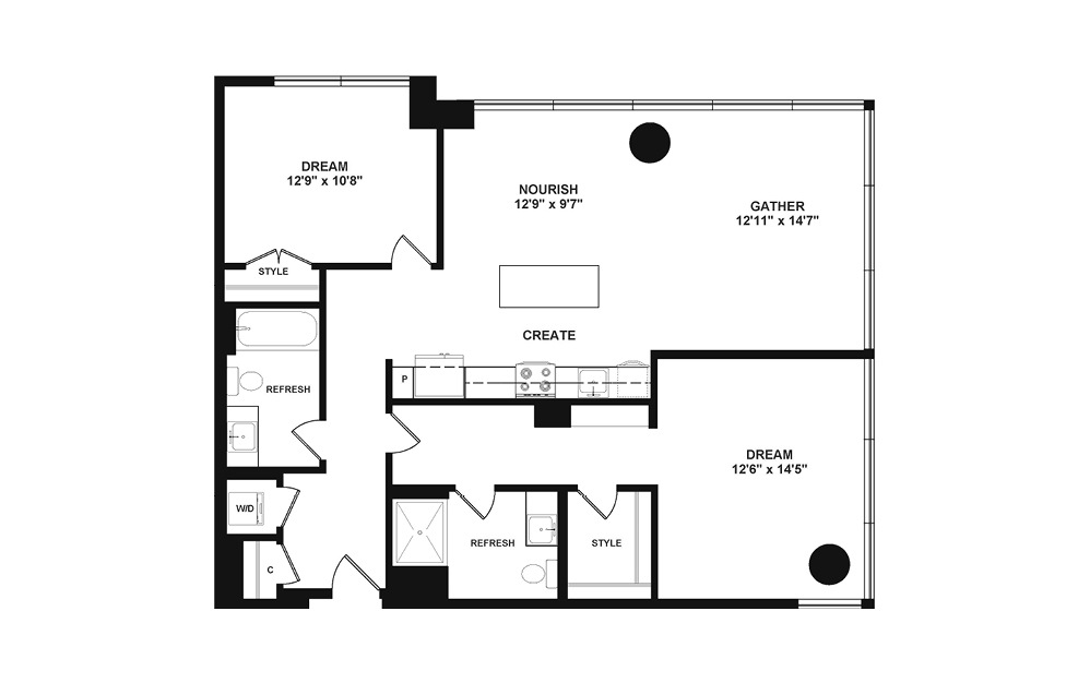 D4.1 - 2 bedroom floorplan layout with 2 baths and 1205 square feet. (2D)
