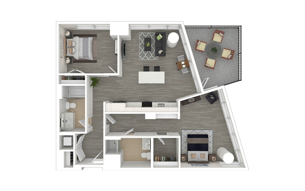 D4.ANSI - 2 bedroom floorplan layout with 2 baths and 1068 square feet. (3D Furnished)
