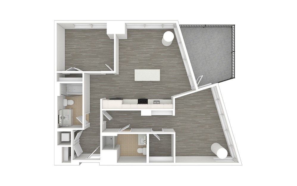 D4.ANSI - 2 bedroom floorplan layout with 2 baths and 1068 square feet. (3D)