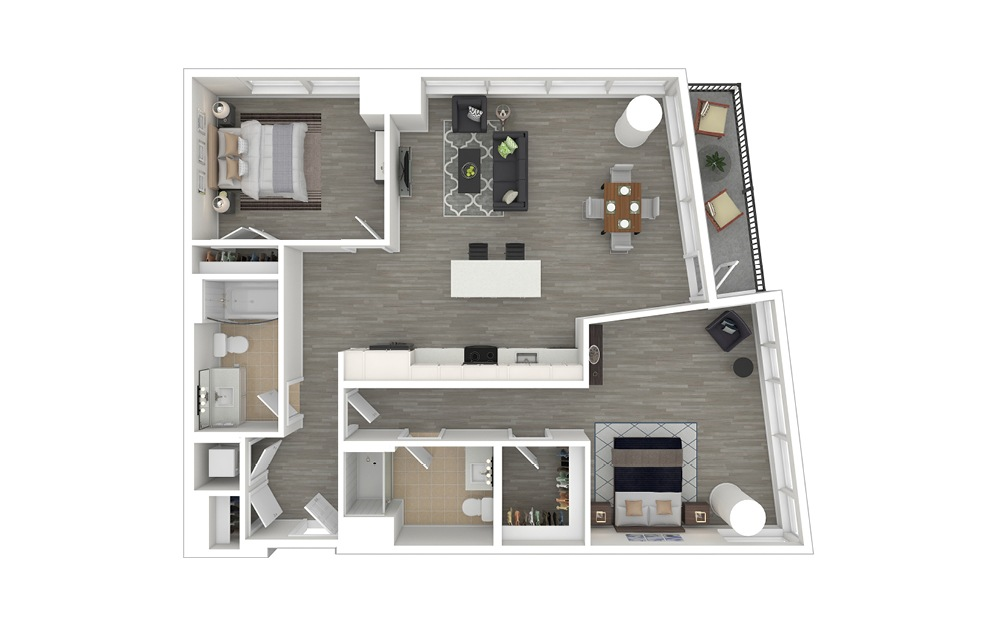 D4 - 2 bedroom floorplan layout with 2 baths and 1075 to 1210 square feet. (3D Furnished)