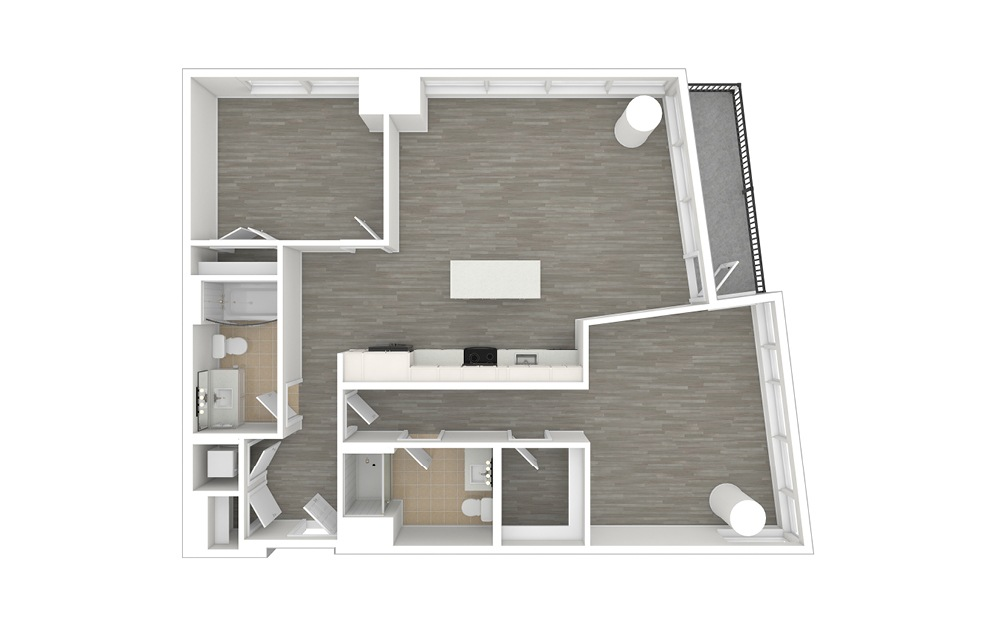 D4 - 2 bedroom floorplan layout with 2 baths and 1075 to 1210 square feet. (3D)