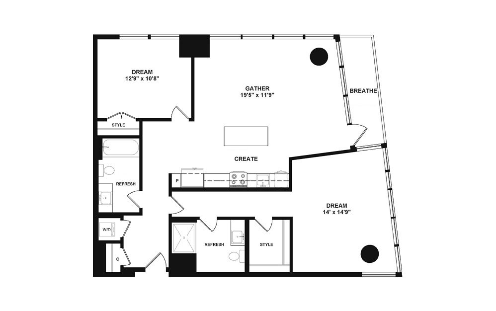 D4 - 2 bedroom floorplan layout with 2 baths and 1075 to 1210 square feet. (2D)