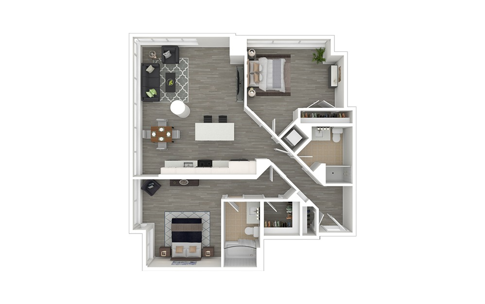 D5.1 - 2 bedroom floorplan layout with 2 baths and 1132 square feet. (3D Furnished)