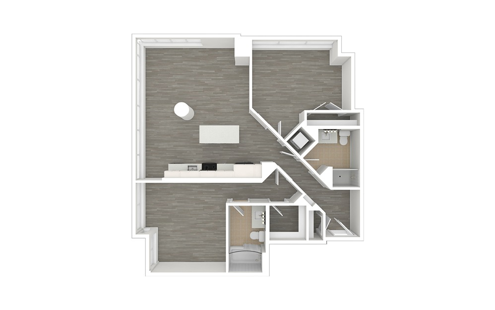 D5.1 - 2 bedroom floorplan layout with 2 baths and 1132 square feet. (3D)