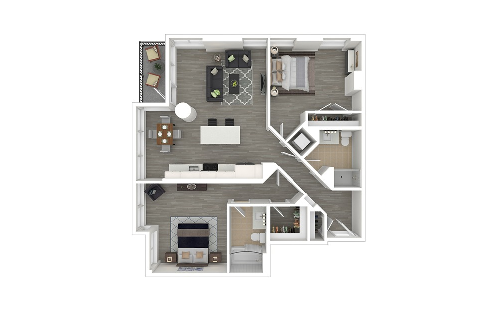 D5 - 2 bedroom floorplan layout with 2 baths and 1089 square feet. (3D Furnished)