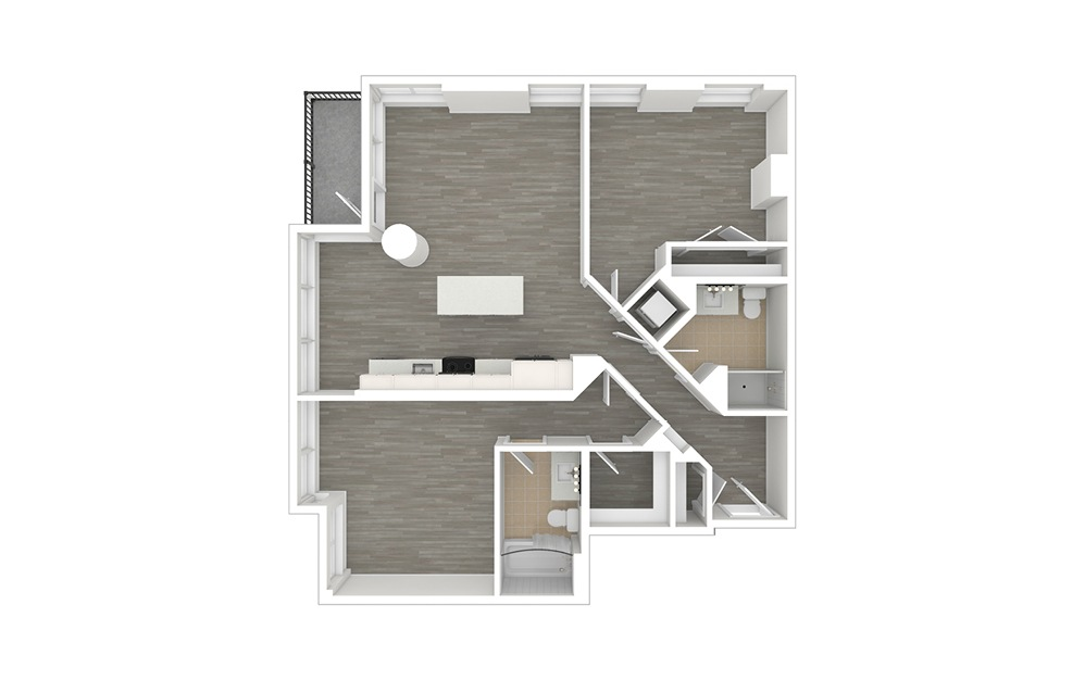 D5 - 2 bedroom floorplan layout with 2 baths and 1089 square feet. (3D)