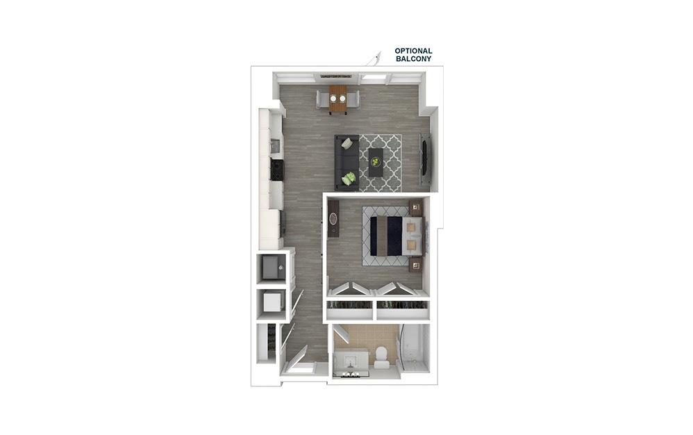 JA1.1 - 1 bedroom floorplan layout with 1 bath and 573 square feet. (3D Furnished)
