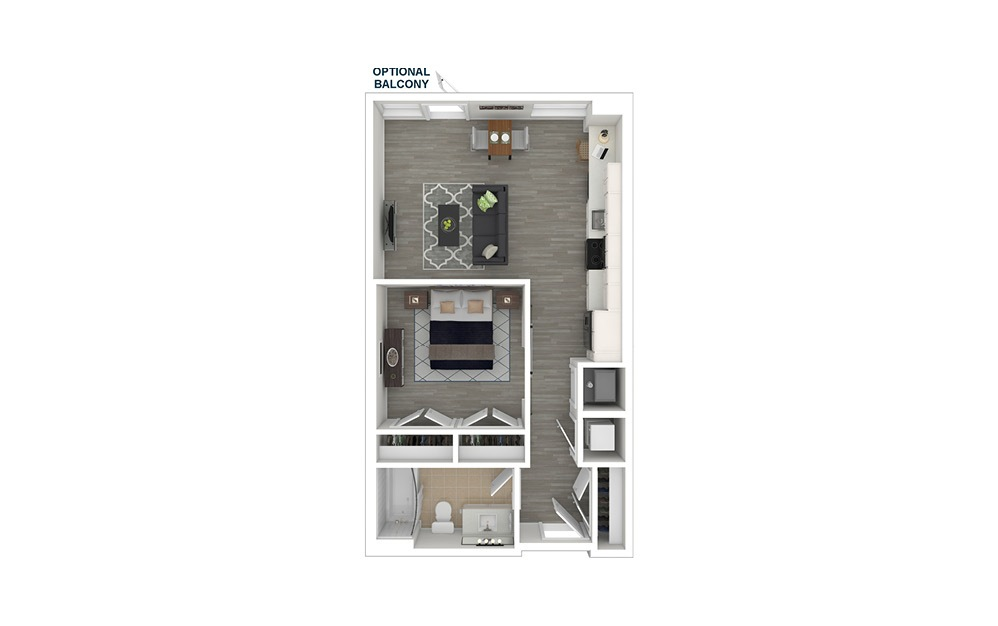 JA1.2 - 1 bedroom floorplan layout with 1 bath and 574 square feet. (3D Furnished)