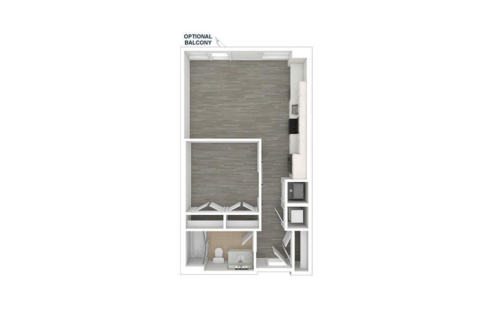 JA1.2 - 1 bedroom floorplan layout with 1 bath and 574 square feet. (3D)