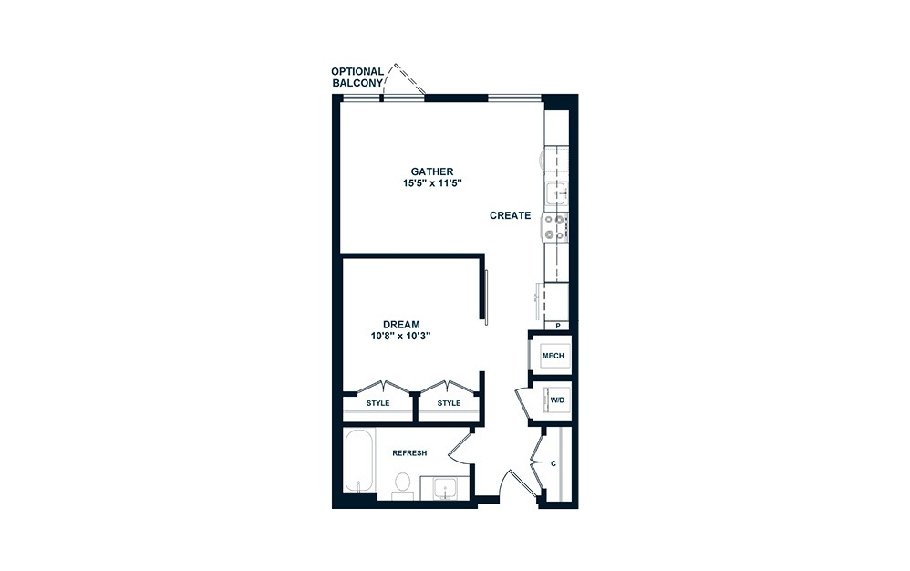 JA2 - 1 bedroom floorplan layout with 1 bath and 567 square feet. (2D)