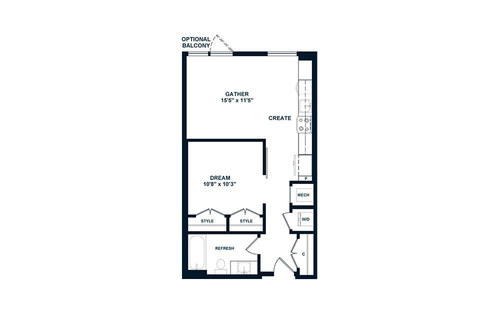 JA1.2 - 1 bedroom floorplan layout with 1 bath and 574 square feet. (2D)