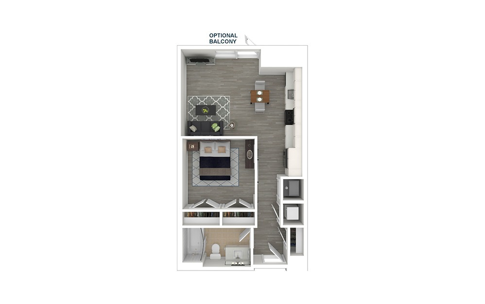 JA1 - 1 bedroom floorplan layout with 1 bath and 565 square feet. (3D Furnished)
